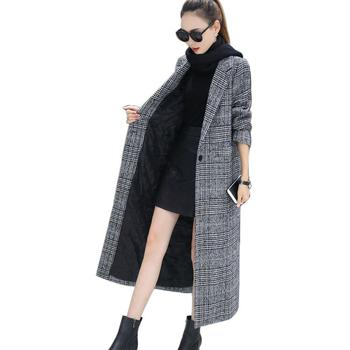 Fashion Women Wool Coat Plaid Classics Female Loose Long Single Breasted Coats 2020 Autumn Winter Jackets Trench Outerwear WJ54 fashion women wool coat plaid classics female loose long single breasted coats 2020 autumn winter jackets trench outerwear