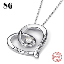 SG New arrival 925 sterling silver love heart chain pendant&necklaces with Zirconia diy fashion jewelry making for women gifts