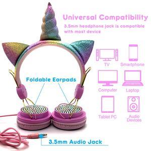 Image 5 - Leuke Unicorns Bedrade kidsHeadphone Muziek Stereo Oortelefoon voor Computer Mobiele Telefoon Gaming Headset Kid Meisjes Dochters Gift