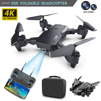 1080P WiFi FPV Dual Camera Drone RC Drone 4k HD Wide Angle Camera S60 RC Quadcopter  Long Flight Time Smart Follow RC Helicopter fayee smart egg wifi fpv rc quacopter black