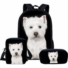 Wherisart śliczny pies plecak zestawy dla dzieci chłopcy West Highland Terrier drukuje białe torby szkolne plecaki dziecięce dla dziewczynek tanie tanio WHEREISART Poliester CN (pochodzenie) Tłoczenie Dziewczyny Miękka Poniżej 20 litr Miękki uchwyt NONE zipper Łukowaty pasek na ramię