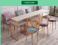 Web celebrity European tuhao gold manicure table and chair set single double diamond iron art double deck manicure table sofa ch
