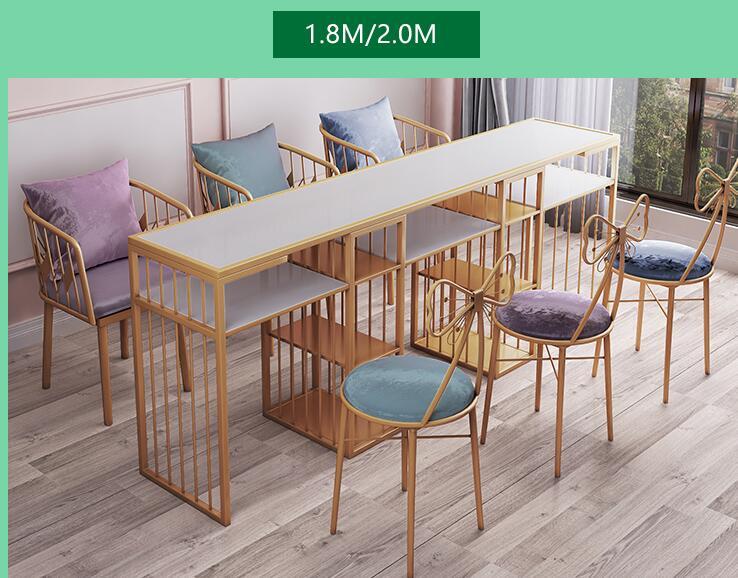 Web Celebrity European Tuhao Gold Manicure Table And Chair Set Single Double Diamond Iron Art Double Deck Manicure Table Sofa Ch