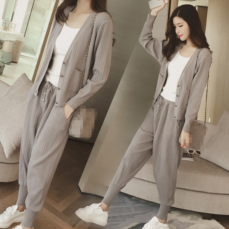Knitted Casual Tracksuit Pant Suits 2018 Fashion 2 Piece Set Women Sweater And Trousers Set Pants Set 58