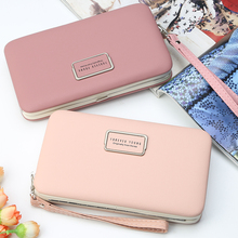 Fashion Women Wallets Simple No Zipper Purses Long Clutch Pu