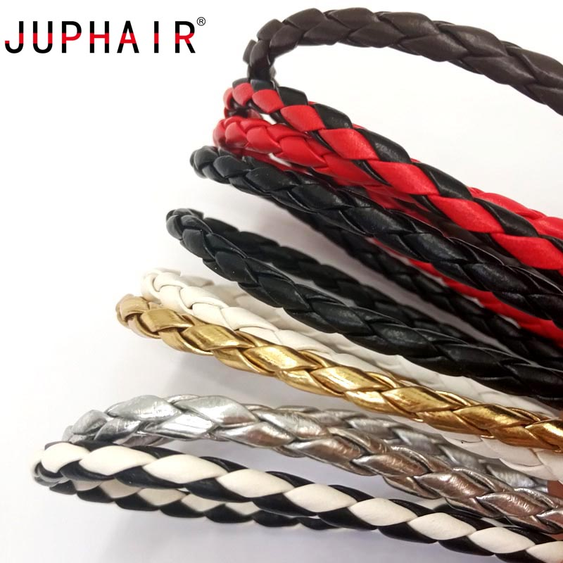 1Pair New Design Strong Round Shoelaces Dia 4mm Gold Silver Metal Tip PU Leather DIY Rope Braided Laces Outdoor Hiking Bootlaces