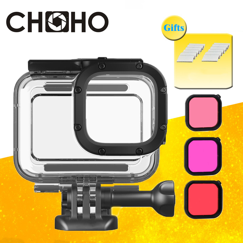 For Gopro 8 Black Accessories Sets Waterproof Case Housing Diving 45M Protective + Color Dive Filter Underwater Red Pink Purple