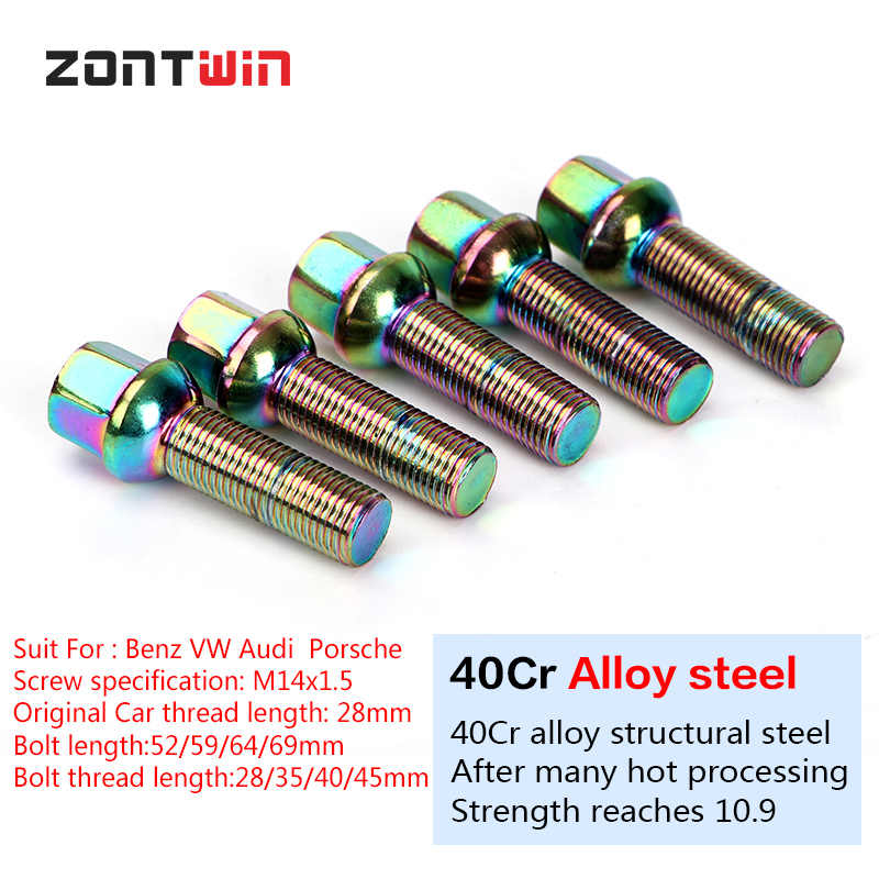 Car Alloy Wheel bolts M14x1.5 45mm extended Thread taper for Audi x 20
