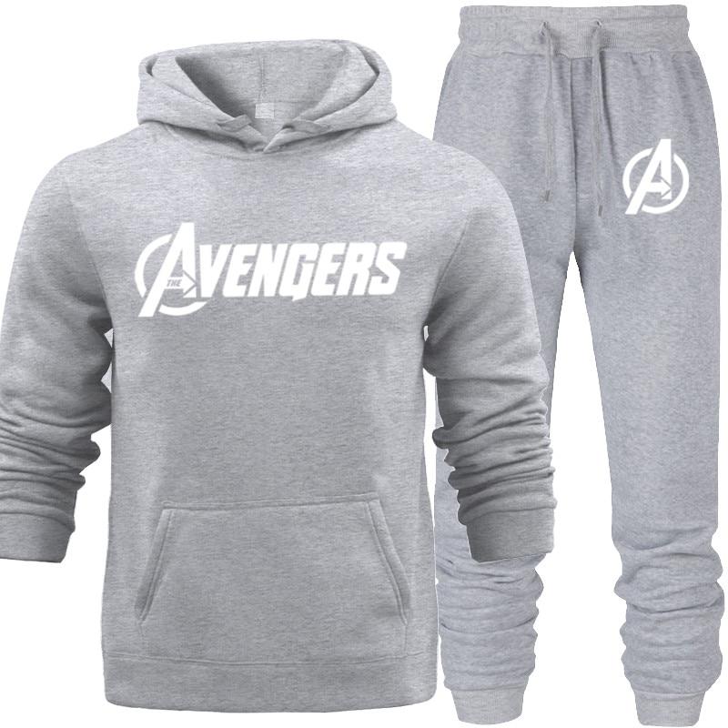 New Fashion 2019 Autumn Casual Men Clothing Set The Avengers Print Men's Sportswear Tracksuit Man Jogging Suit Hooded Sweatshirt