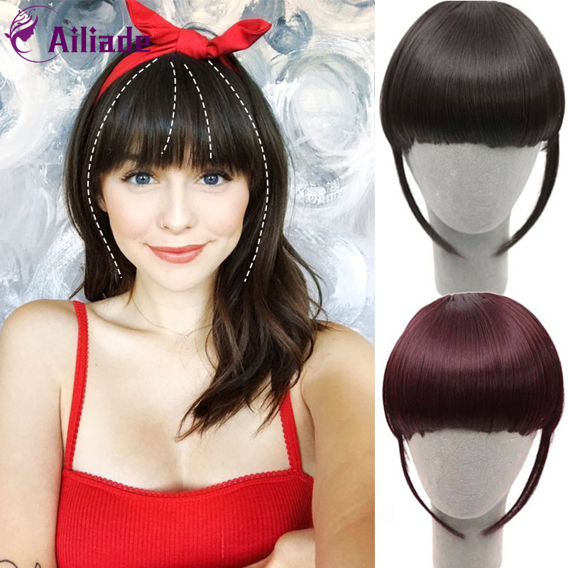 AILIADE Fake Fringe Clip In Bangs Hair Extensions With High Temperature Synthetic Fiber Black Brown Blonde Red