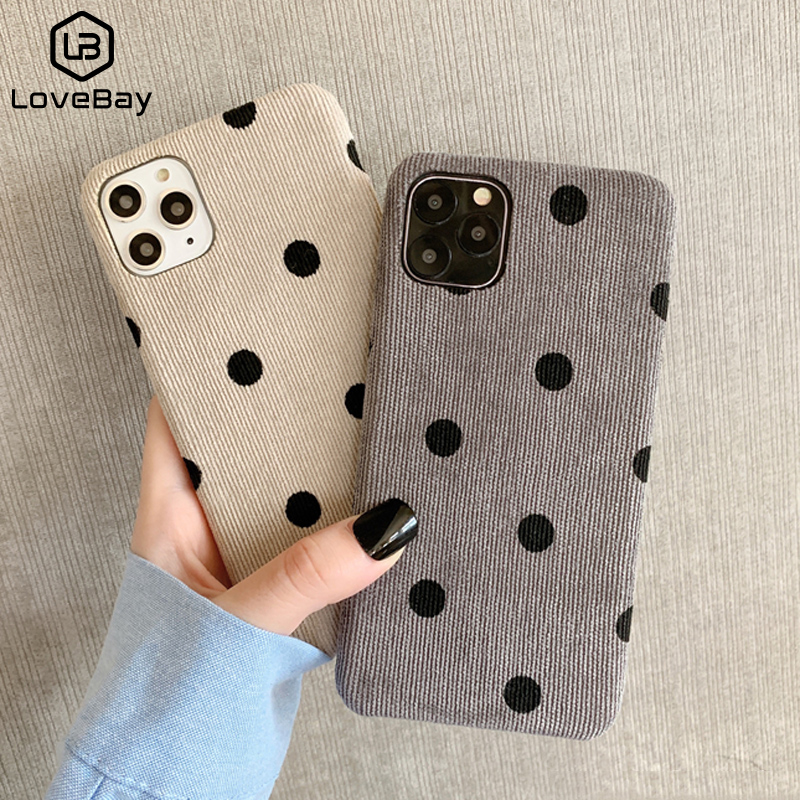 Lovebay Cloth Texture Love Heart Wave Point Phone Case For IPhone 11 Pro Max 6 6s 7 8 Plus X XS XR Xs Max Soft Warm PU Fundas