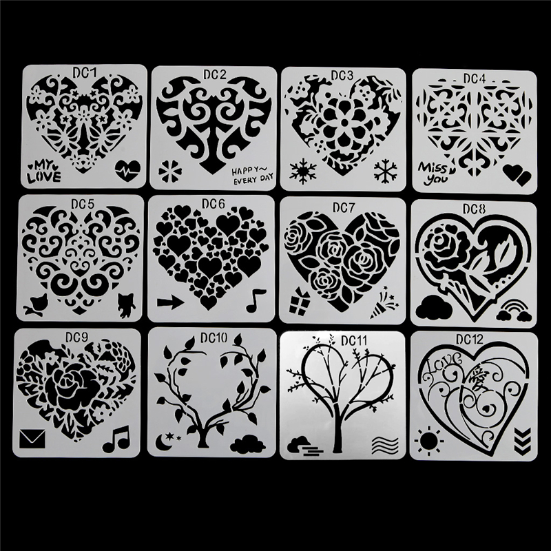 12Pcs Flower Heart Drawing Molds Plastic Children Painting Stencils DIY Paper Art Craft Card Label Scrapbook Bookmark Education