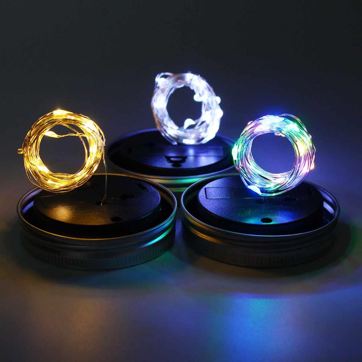 2M Solar Powered Lighting String 20LEDs Mason Jar Lid Insert Fairy String Light For Garden Christmas Party Decor