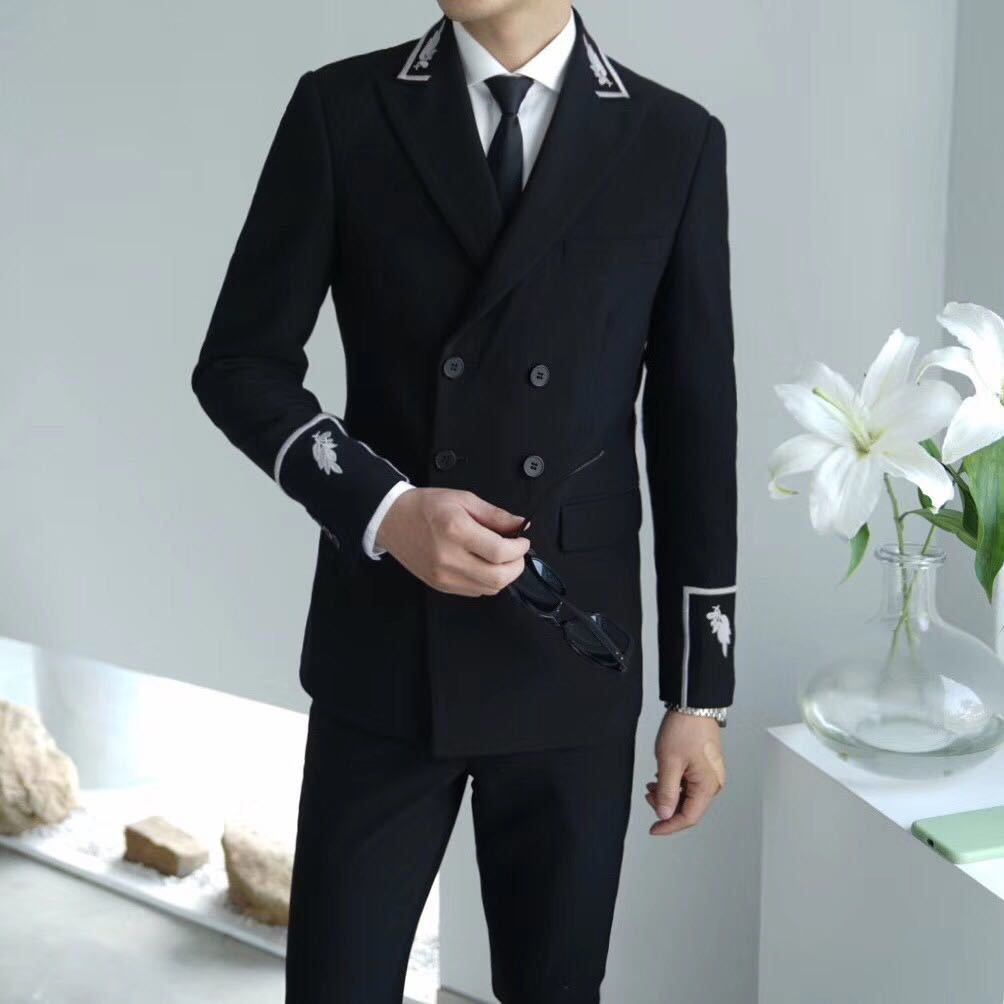 Both Row Buckle Man's Suit Self-cultivation Trend Personality Embroidery Man's Suit Male Smoking Homme Mariage Men Tuxedo Suit