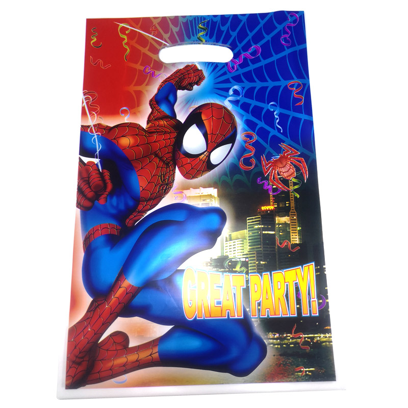 10PCS/PACK Decoration Happy Birthday Party Baby Shower Food Gifts Bags Kids Boys Favors Spiderman Theme Plastic Loot Bags
