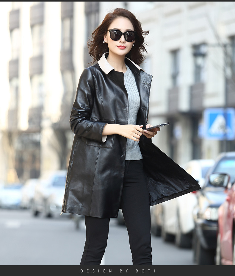 Real 100% Sheepskin Coat Female Genuine Leather Jacket 2020 Autumn Winter Jacket Women Korean Long Trench Coat MY3508