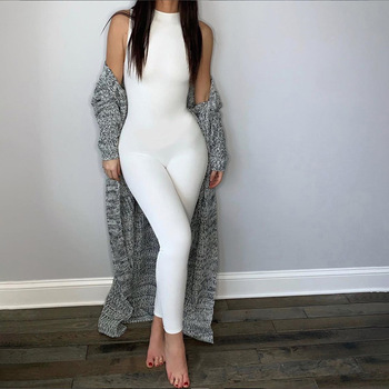 Black White Women Bodysuit Sexy Backless Plain Bodysuit Rompers femme Sexy Sleeveless Slim Overalls Bodycon Female Outfits