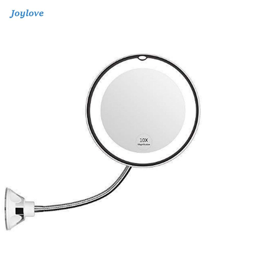 JOYLOVE LED Mirror Makeup 10X Magnifying Vanity Mirror Adjustable 360-Degree Rotating Flexible Sucker Shaving Mirror