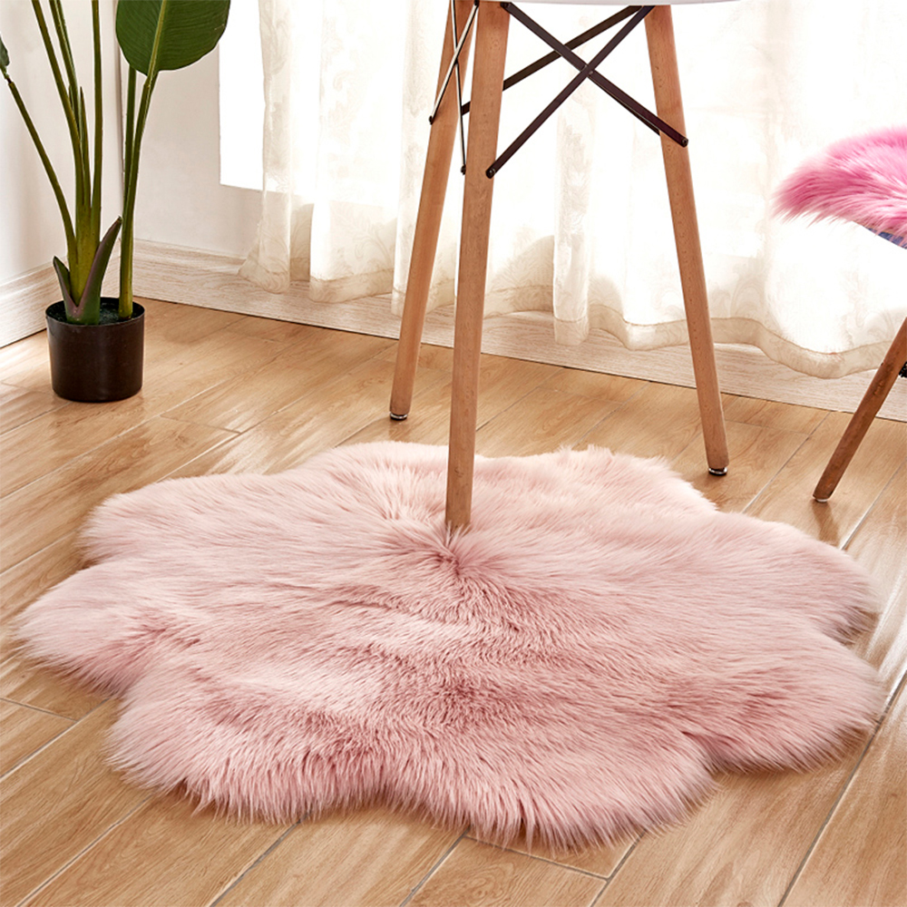 Pink Sheepskin Carpet Rug Flower Retangle Shaped Antiskid Soft Faux Fur Wool Carpet Modern Carpets Mat Living Room