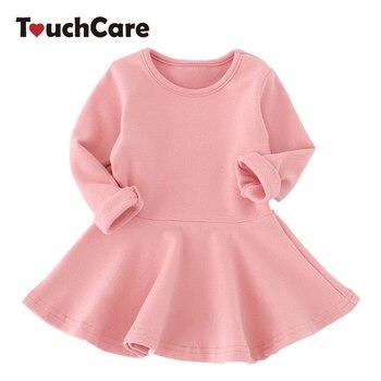 Otoño niña vestido bebé niña vestidos de manga larga de algodón sólido vestido de princesa Arco-Nudo cumpleaños vestidos plisados traje recién nacido
