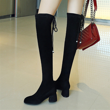 купить Plus Size 34-43 Elastic Flock Slim Fit Over The Knee Boots Women Thigh Lace Up Ladies High Heel Chunky Heel Long Thigh High Bota дешево