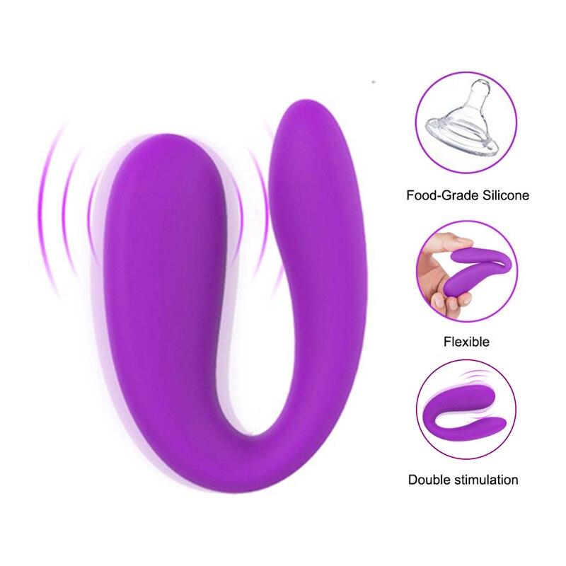 Portable Mini U Shape G-spot Anal Double-head Dildo Vibrator Sex Toy For Women Couples Clitoris Stimulator Vagina Pussy Massager