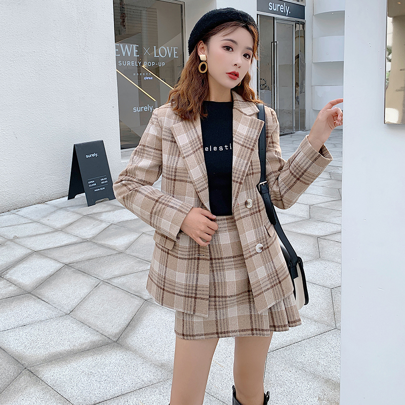 Autumn Elegant Sets Women Two Piece Outfits New Single Breasted Plaid Blazers Coat + High Waist Mini Skirt Suits 2 Piece Set