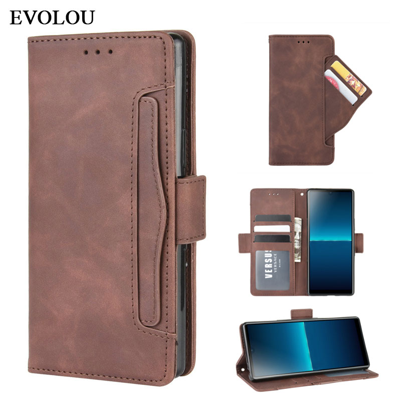 For <font><b>Sony</b></font> <font><b>Xperia</b></font> L4 <font><b>Case</b></font> Multi-Card Slot Magnetic Flip Leather <font><b>Case</b></font> for <font><b>Sony</b></font> Xpeira L4 <font><b>10</b></font> II 1 II Wallet Phone <font><b>Cover</b></font> Bag image