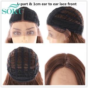 Image 5 - SOKU Ombre Blone סינטטי תחרה מול פאות ארוך גלי התיכון חלק תחרה שיער פאות חום עמידה עבור שחור נשים