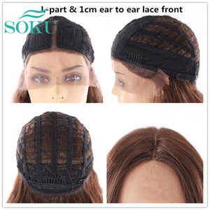 Image 5 - Soku Ombre Blone Synthetische Lace Front Pruiken Lang Golvend Middendeel Kant Haar Pruiken Hittebestendige Lace Front Pruik Voor zwarte Vrouwen
