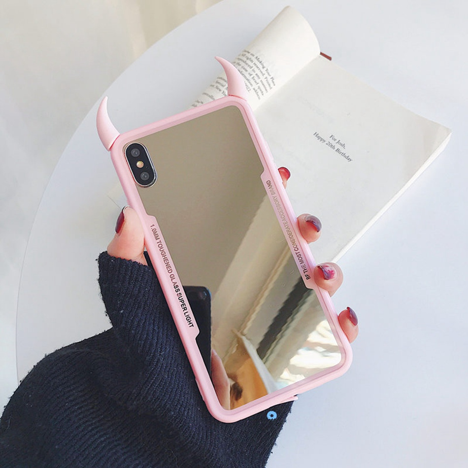 For iPhone 11 Pro Max Case For iPhone XR XS Max Coque For iPhone 7 6s 8 Plus Luxury Mirror Phone Case Cute 3D Devil Horn Cover