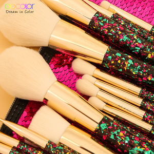 Image 2 - Docolor 14Pcs Christmas Makeup Brushes Professional Powder Foundation Eyeshadow Make up Brushes Set Synthetic Hair Cosmetic Tool