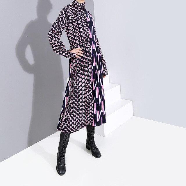 [EAM] Women Pattern Print Split Temperament  Dress New Bow Collar Long Sleeve Loose Fit Fashion Tide Spring Autumn 2021 19A-a872 3