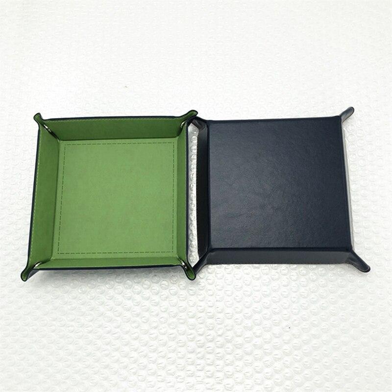 Складная коробка для хранения из искусственной кожи, квадратный поднос для настольной игры в кости, кошелек для ключей, коробка для монет, поднос, настольная коробка для хранения, лотки, Декор - Цвет: A-2