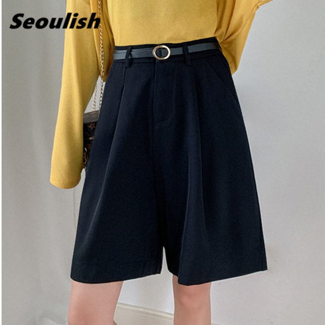 Seoulish 2021 New Summer Women's Shorts with Belted Solid High Waist Office Wide Leg Shorts Elegant Purple Loose Trousers Pocket 3