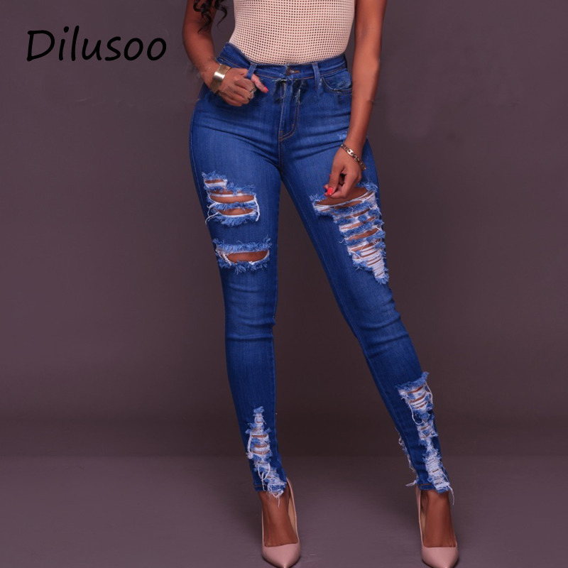 Dilusoo Women High Waist Jeans Pants Elastic Holes Ripped Jeans 4 Season Skinny Pencil Pants Woman Casual Jeans Trousers 2020