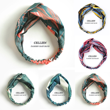 Print Headbands For Women Summer Bohemian Style Hairbands Retro Cross Knot Turban Bandage Bandanas Hair Accessories DS04