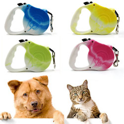 Tie-dye 3/5M Durable Dog Leash Automatic Retractable Nylon Cat Lead Extending Puppy Walking Running Lead Roulette For Dogs 2020