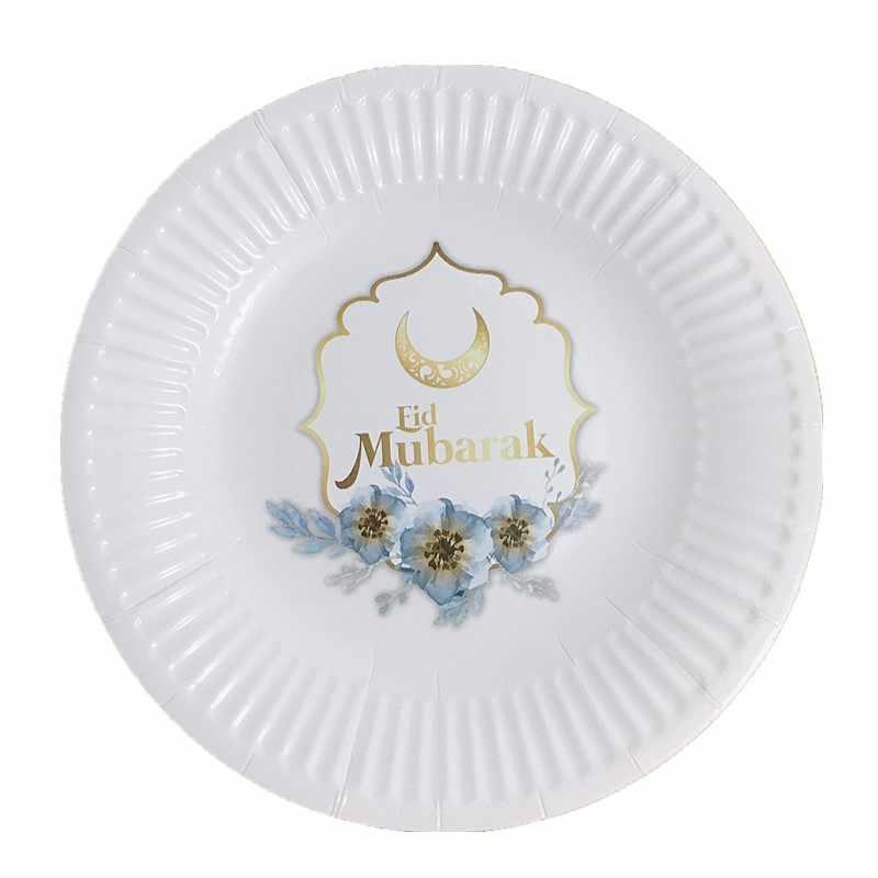 WPGJM EID MUBARAK Carta Piatti Tazze Usa E Getta Da Tavola Musulmano Islamico Ramadan Decor Eid Partito Cena Posate Forniture