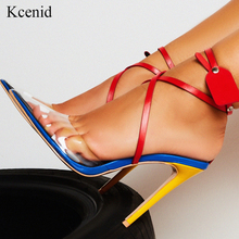 Kcenid New Transparent PVC pointed toe summer sandals women sexy high heels womens shoes multi color cross strap rivets pumps