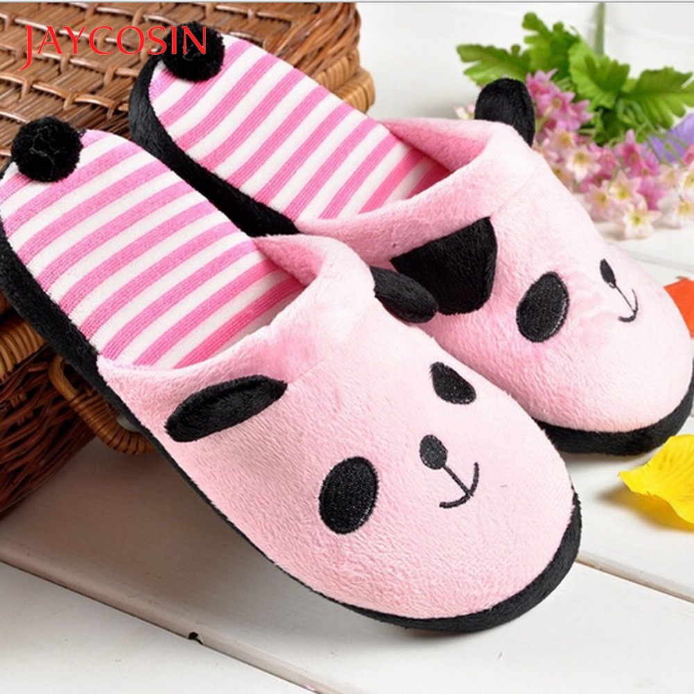 Jaycosin Lovely Cartoon Panda home slippers women Floor Soft Stripe Female shoes woman winter shoes slides Dropshiping 36-40 1