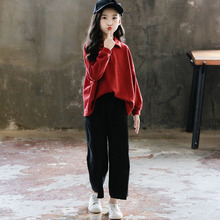 New Arrivals 2019 Children Clothing Sets Teenage Girls 2 Pcs Red Loose Shirts Blouse & Wide Leg Pants Suits Kids Outifts Clothes