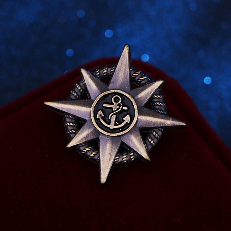 Vintage Jangkar Bintang Bros Pin Pin Logam dan Bros Pria Sesuai dengan Kemeja Lencana Kerah Bros Perhiasan Aksesoris Hadiah