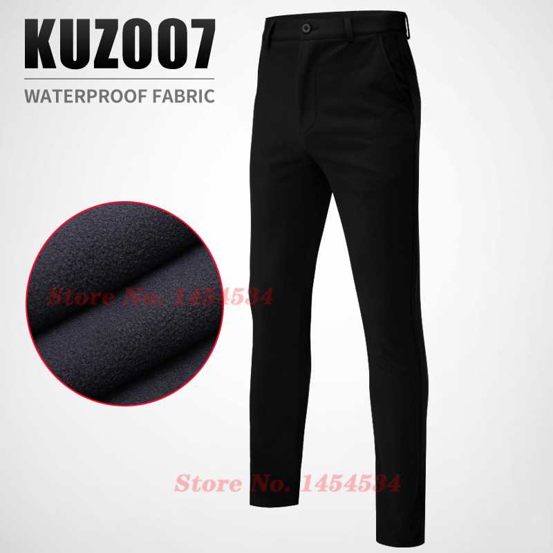 Plus Velvet Warm Men's Slim Waterproof Trousers 5Colors Outdoor Long Pants Golf Male Clothing Autumn Winter Trousers Quick Dry