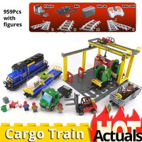 compatible legoinglys CITY 60052 electric toy Cargo Train railway Building Blocks educational Bricks gifts for birthday 02008