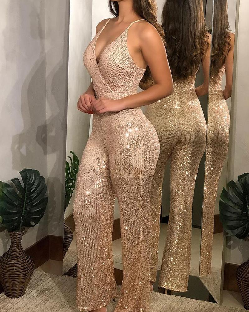 Women Backless Rompers Sequin Jumpsuit Spaghetti Straps Sexy Overalls Macacao Feminino