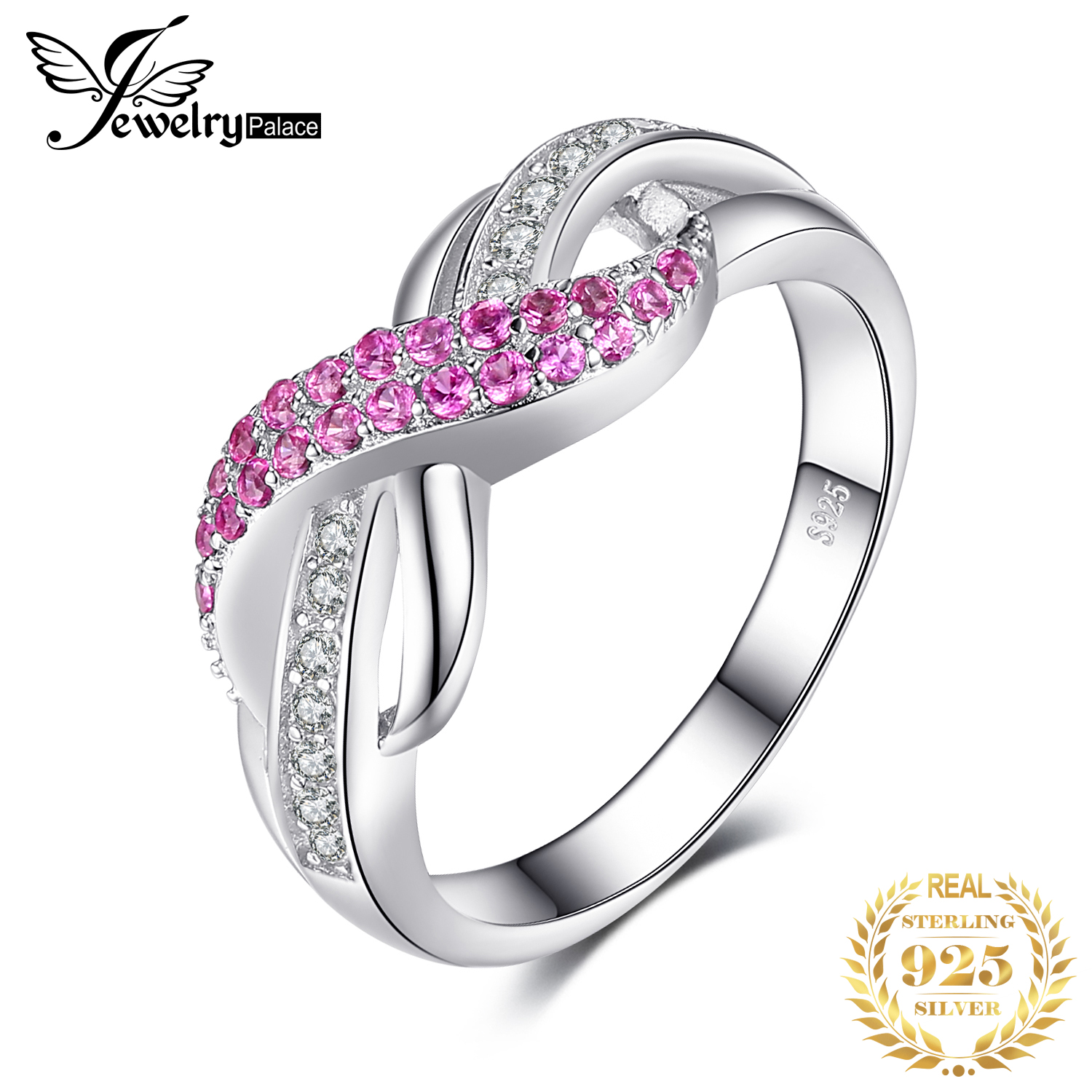 JewelryPalace Infinity Created Pink Sapphire Ring 925 Sterling 