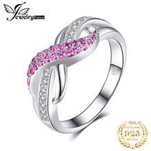 JewelryPalace nieskończoność utworzono różowy szafir pierścień 925 srebro pierścionki dla kobiet pierścień przyrzeczenia srebro 925 kamienie szlachetne biżuteria