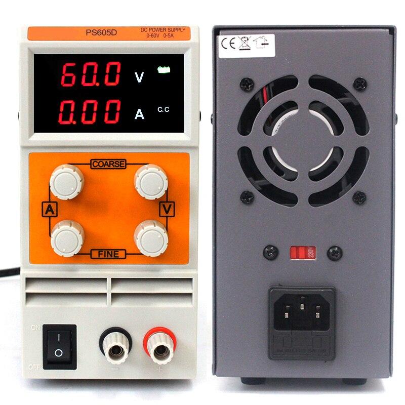 KUAIQU PS605D Mini DC Power Supply 110V/220V Switching Laboratory Digital Variable Adjustable DC Power Supply 60V 0-5A
