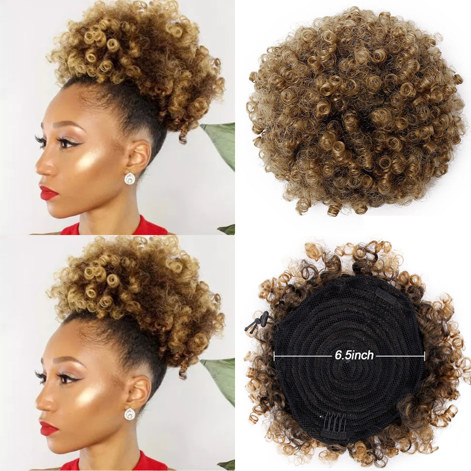 Spring Sunshine Synthetic Puff Afro Curly Chignon Short Hair Bun Drawstring Ponytail Wrap Hairpiece Fake Hair Extensions